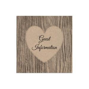 Carved Heart Guest Information, Details Card, Rustic Wedding Invite, Names in Bark, Eco Wedding, 10 Pack