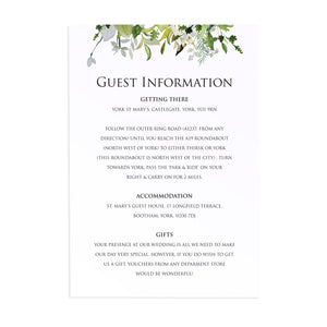Greenery Guest Information Cards, Detail Cards, Watercolour Foliage, Greenery, Eucalyptus Invites, Green Wreath, Botanical Wedding, 10 Pack