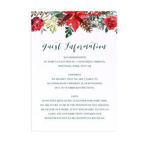Winter Rose Guest Information Cards, Detail Cards, Christmas Wedding, Festive Wedding, Holly Wreath, Poinsettia, 10 Pack