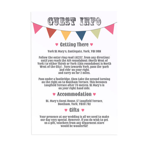 Beach Hut Guest Information Cards, Detail Cards, Beach Wedding, Seaside Wedding, Bunting, Nautical Wedding, Colourful Beach Huts, Coastal Wedding, 10 Pack