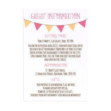 Summer Fair Guest Information Cards, Detail Cards, Bunting Invitations, Bunting Wedding, Cute Bunting, 10 Pack