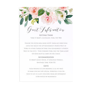 Blush and Gold Guest Information Cards, Detail Cards, Pink Watercolour flowers, Blush Wedding, 10 Pack