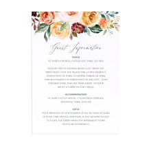 Autumn Floral Guest Information Cards, Detail Cards, Autumn Wedding, Fall Wedding, Burgundy & Orange, Peach Wedding, 10 Pack