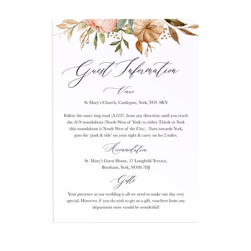 Autumn Pumpkin Guest Information Cards, Detail Cards, Halloween, Autumn Wedding, Fall Wedding, Autumn Leaf, 10 Pack