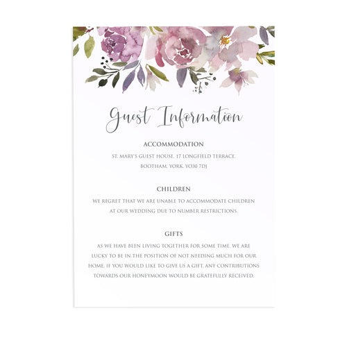 Dusty Rose Guest Information Cards, Detail Cards, Mauve, Dusky Pink, Pink Rose, Blush Wedding, 10 Pack