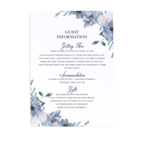 Dusky Blue Floral Guest Information Cards, Detail Cards, Blue Floral, Blue Wedding, Navy, Baby Blue, 10 Pack