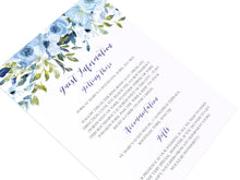 Blue Floral Guest Information Cards, Detail Cards, Blue Watercolour flowers, Baby Blue, Pastel Blue Wedding, 10 Pack