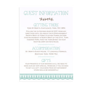 Country Lace Guest Information Cards, Detail Cards, Rustic Wedding Invitation, Barn Wedding Invitation, Wedding Lace, 10 Pack
