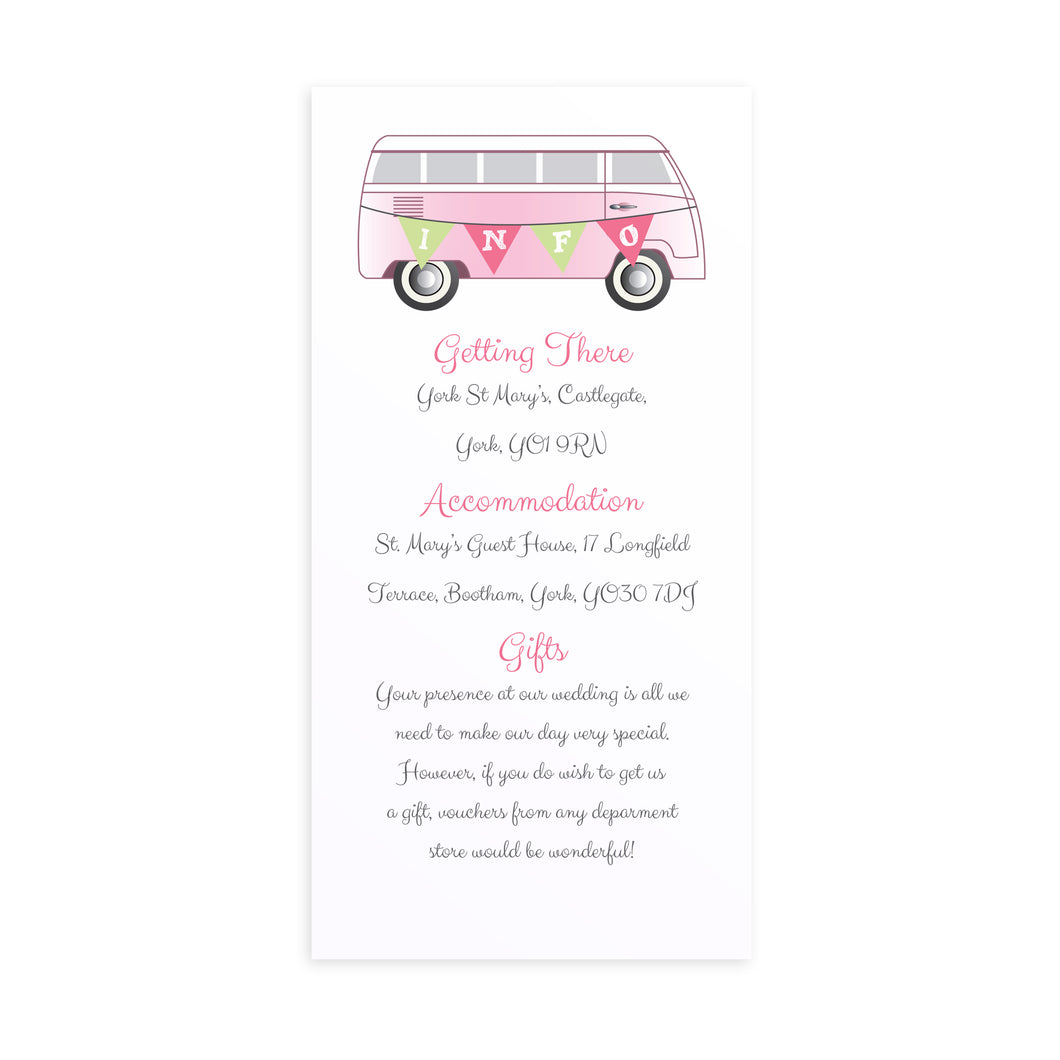 Camper Guest Information Cards, Detail Cards, Vintage Camper Van, Campervan, Van, Surfer Wedding, 10 Pack