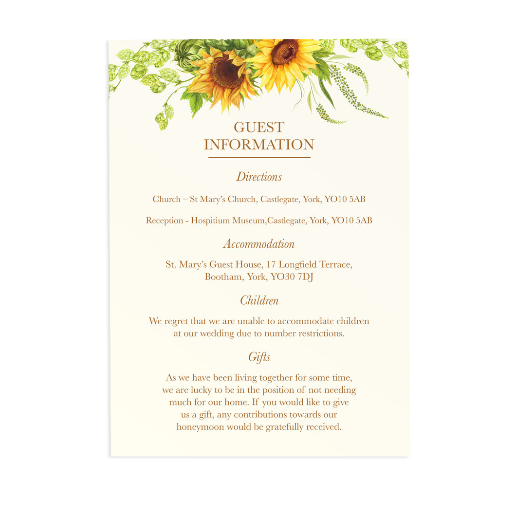Rustic Sunflower Guest Information Cards, Detail Cards, Rustic Wedding, Country Wedding, Sunflowers, 10 Pack