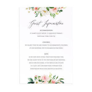 Spring Blush Guest Information Cards, Detail Cards, Blush Wedding, Pink Flowers, Blush Ivory, Botanical, Modern Invitations, 10 Pack
