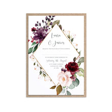 Red and Gold Wedding Invitations, Gold Diamond Frame, Ruby Red, Burgundy, Blush, Red Floral, 10 Pack