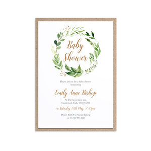 Foliage Baby Shower Invitations, Greenery Baby Shower, Green Leaf, 10 Pack