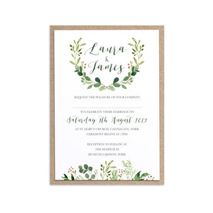 Green Leaf Wedding Invitations, Watercolour Foliage, Greenery, Eucalyptus Invites, Green Wreath, Botanical Wedding, 10 Pack