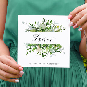 Greenery Leaf Will you be my Bridesmaid card, Maid of Honour, Watercolour Foliage, Greenery, Eucalyptus Invites, Green Wreath, Botanical Wedding