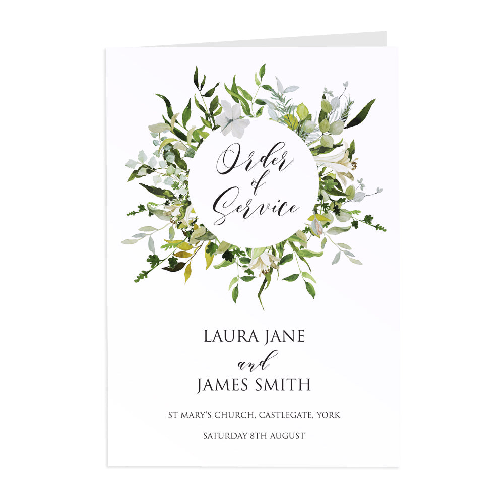 Greenery Order of Service Booklets, Green Wreath, Eucalyptus Wreath, Green Leaf, Botanical Wedding, Leaf, 10 Pack