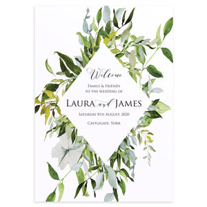 Greenery Welcome Sign, Watercolour Foliage, Greenery, Eucalyptus, Green Wreath, Botanical Wedding