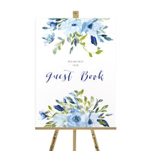 Blue Floral Wedding Guest Book Sign, Please Sign Our Guest Book Sign, Blue Watercolour flowers, Baby Blue, Pastel Blue Wedding