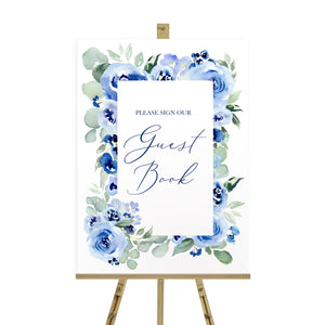 Navy Rose Wedding Guest Book Sign, Please Sign Our Guest Book Sign, Watercolour roses, Navy Wedding, Blue Wedding