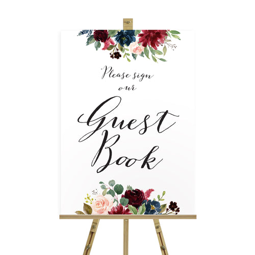 Burgundy, Navy & Blush Floral Wedding Guest Book Sign, Please Sign Our Guest Book Sign, Burgundy Navy Invite, Rustic Floral, Blush Wedding Invite, Boho Floral