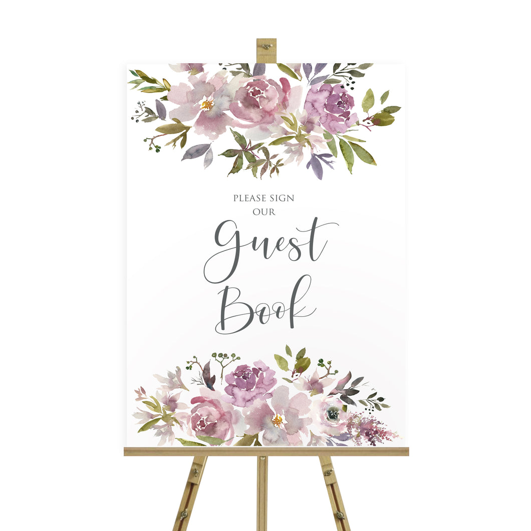 Dusty Rose Wedding Guest Book Sign, Please Sign Our Guest Book Sign, Mauve, Dusky Pink, Pink Rose, Blush Wedding