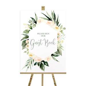 Blush Floral Wedding Guest Book Sign, Please Sign Our Guest Book Sign, Blush Wedding, Pink Flowers, Blush Ivory, Botanical, Modern Wedding