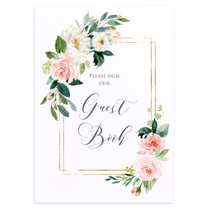 Blush and Gold Wedding Guest Book Sign, Please Sign Our Guest Book Sign, Pink Watercolour flowers, Blush Wedding