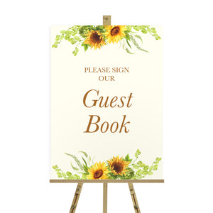 Rustic Sunflower Wedding Guest Book Sign, Please Sign Our Guest Book Sign, Rustic Wedding, Country Wedding, Sunflowers, Sunflower