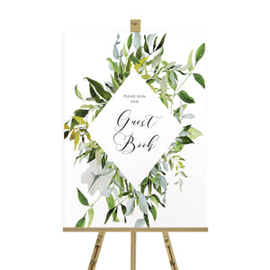 Greenery Wedding Guest Book Sign, Please Sign Our Guest Book Sign, Watercolour Foliage, Greenery, Eucalyptus, Green Wreath, Botanical Wedding