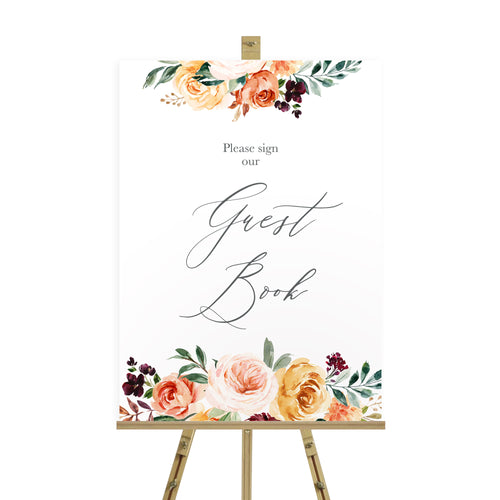 Autumn Floral Wedding Guest Book Sign, Please Sign Our Guest Book Sign, Autumn Wedding, Fall Wedding, Burgundy & Orange, Peach Wedding