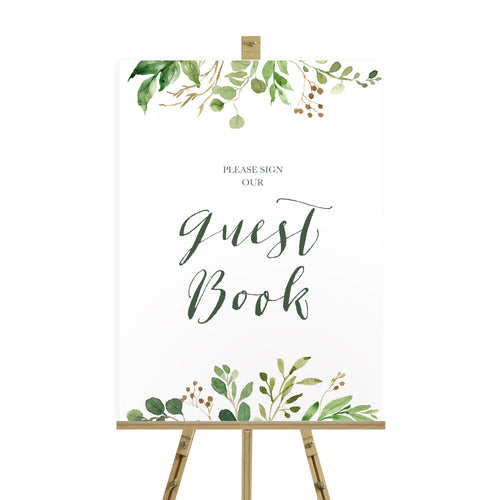 Green Leaf Wedding Guest Book Sign, Please Sign Our Guest Book Sign, Watercolour Foliage, Greenery, Eucalyptus, Green Wreath, Botanical Wedding