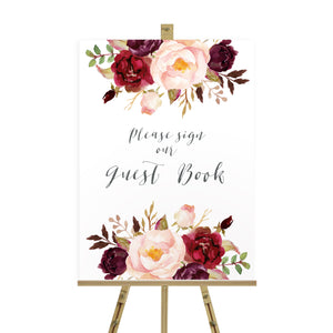 Boho Red Rose Wedding Guest Book Sign, Please Sign Our Guest Book Sign, Burgundy Invite, Red Roses, Red Wedding, Boho Floral