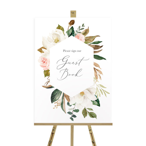 Magnolia Wedding Guest Book Sign, Please Sign Our Guest Book Sign, Ivory Floral, Boho Wedding, Cotton Wedding, Autumn Wedding