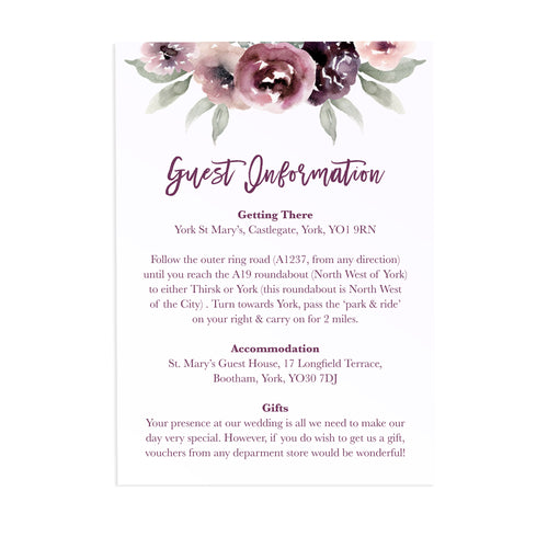 Plum Floral Guest Information Cards, Detail Cards, Purple Wedding, Lilac, Mauve, Purple and Blush, 10 Pack