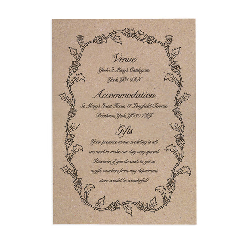Scottish Thistle Guest Information Cards, Detail Cards Thistle Wreath, Scottish Wedding, Scottish Invitations, Highland Wedding, Tartan Wedding, 10 Pack