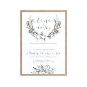 Winter Foliage Wedding Invitations, Ice Blue Wedding, Winter Wedding, Light Blue, Frozen Wedding, 10 Pack