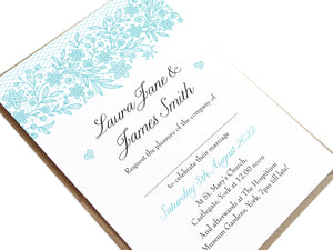 Floral Lace Wedding Invitations, Wedding Lace, Lace Invitation, Rustic Wedding Invitation, Floral Wedding Invite, Barn Wedding, 10 Pack