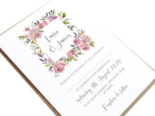 Dusty Rose Wedding Invitations, Square Wreath, Mauve, Dusky Pink, Pink Rose, Blush Wedding, 10 Pack