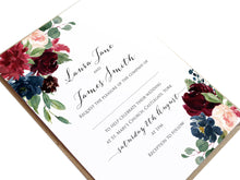 Burgundy, Navy & Blush Floral Wedding Invitations, Floral Edge, Burgundy Navy Invite, Rustic Floral, Blush Wedding Invite, Boho Floral Wedding Invite, 10 Pack