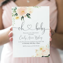 Floral Blush Baby Shower Invitations, Blush Baby Shower, Blush Flowers, Pink Babay Shower, 10 Pack