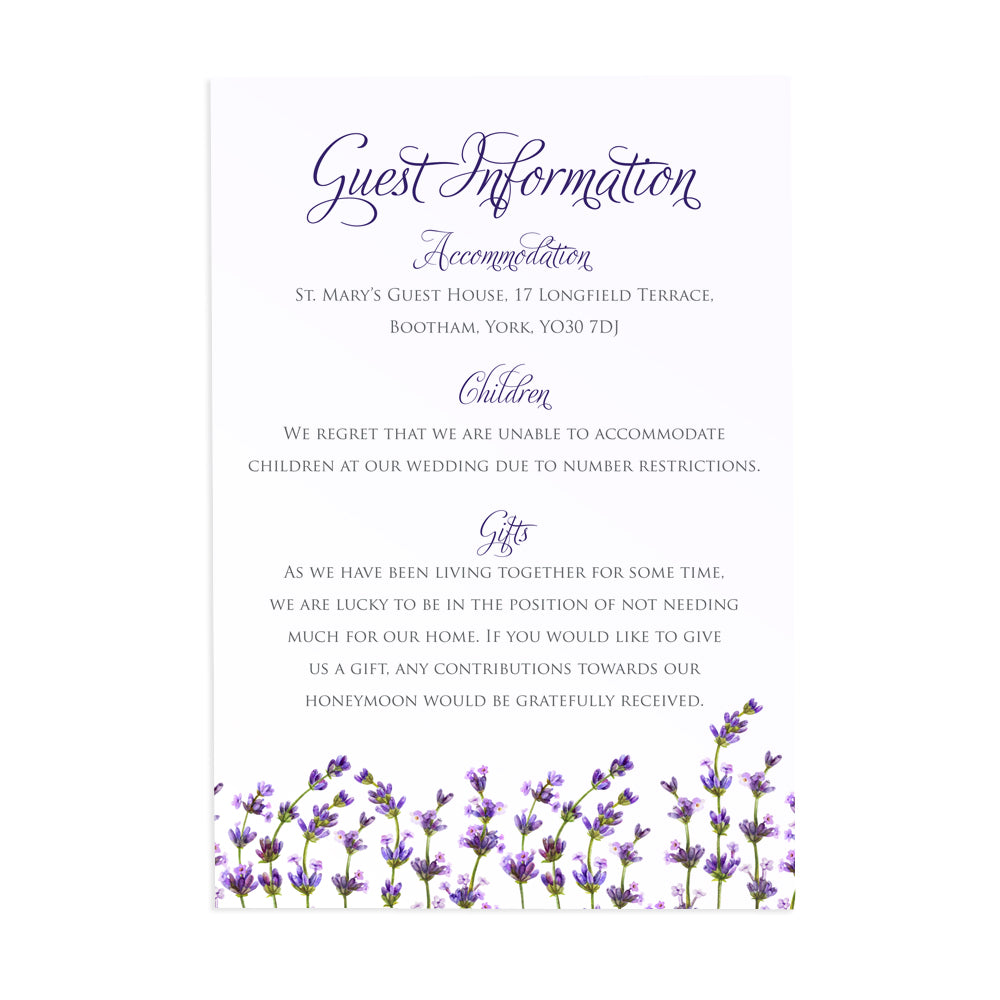 Lavender Guest Information Cards, Detail Cards, Rustic Wedding, Rosemary Herb Invitation, Purple Wedding, Rustic Wedding, Lilac Wedding, 10 Pack