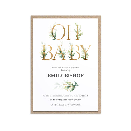 Green and Gold Baby Shower Invitations, Greenery Baby Shower, Foliage Baby Shower, Unisex, 10 Pack