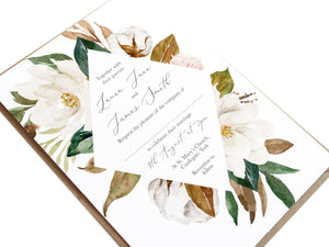 Magnolia Wedding Invitations, Ivory Floral, Boho Wedding, Cotton Wedding, Autumn Wedding, 10 Pack