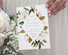 Magnolia Wedding Invitations, Ivory Floral, Cotton Wedding, Autumn Wedding, 10 Pack