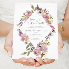 Dusty Rose Wedding Invitations, Diamond, Mauve, Dusky Pink, Pink Rose, Blush Wedding, 10 Pack