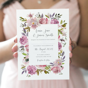 Dusty Rose Wedding Invitations, Floral Frame, Mauve, Dusky Pink, Pink Rose, Blush Wedding, 10 Pack