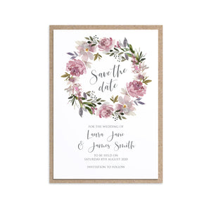 Dusty Rose Save the Date Cards, Mauve, Dusky Pink, Pink Rose, Blush Wedding, 10 Pack