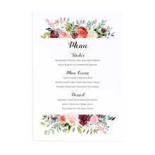 Paprika Wedding Menu, Orange Floral Wedding Invitation, Autumn Wedding, Fall Wedding, 5 Pack