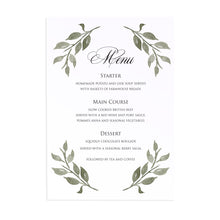 Elegant Geometric Wedding Menu, Greenery Wedding, Leaf Wedding, Foliage, 5 Pack