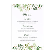 Green Leaf Wedding Menu, Watercolour Foliage, Greenery, Eucalyptus, Green Wreath, Botanical Wedding, 5 Pack